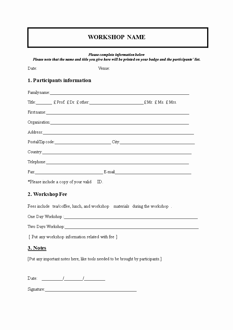 Registration form Template Microsoft Word Inspirational Workshop Registration form