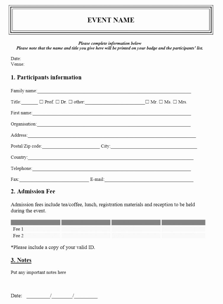 Registration form Template Microsoft Word Unique event Registration form Template