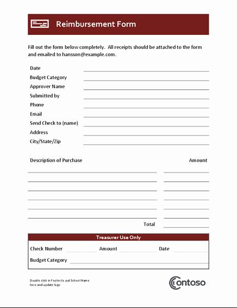Reimbursement form Template Word Elegant Lesson Plan