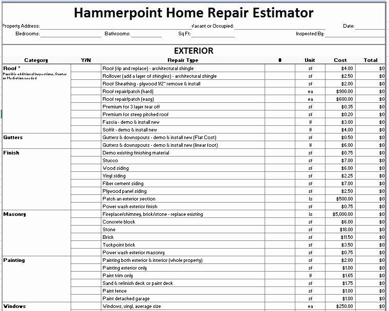 Repair Estimate form Template Free Elegant Home Repair Estimate form