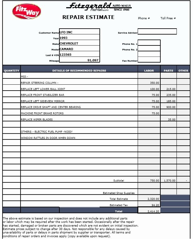 Repair Estimate form Template Free Lovely 9 Free Sample Auto Repair Quotation Templates Printable