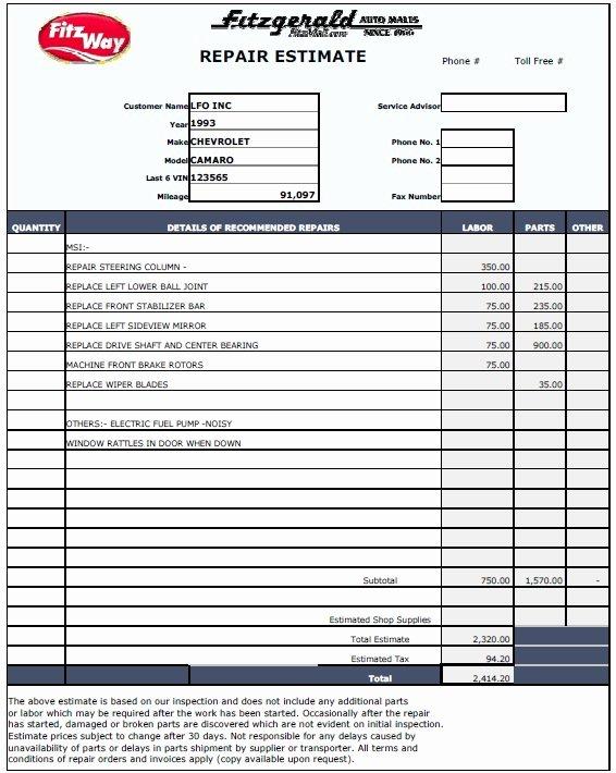 Repair Estimate form Template Free Luxury 13 Free Sample Auto Repair Estimate Templates Printable