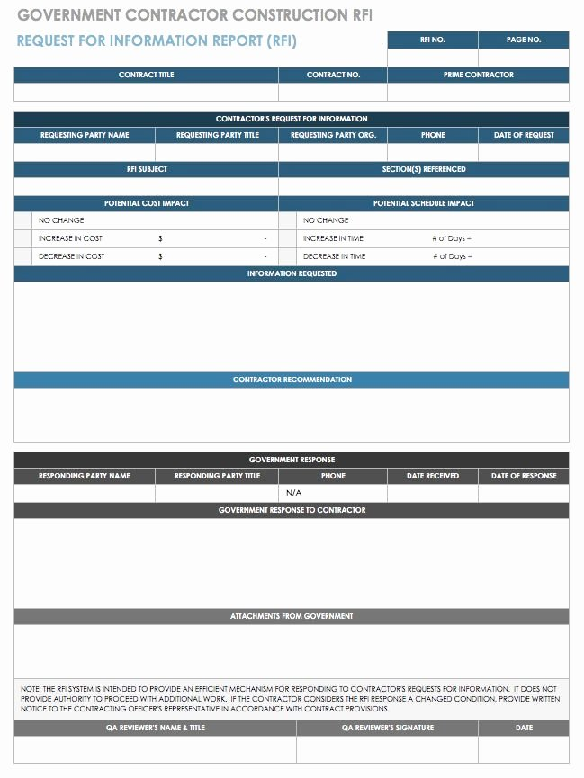 Request for Information Template Construction Awesome Free Request for Information Templates