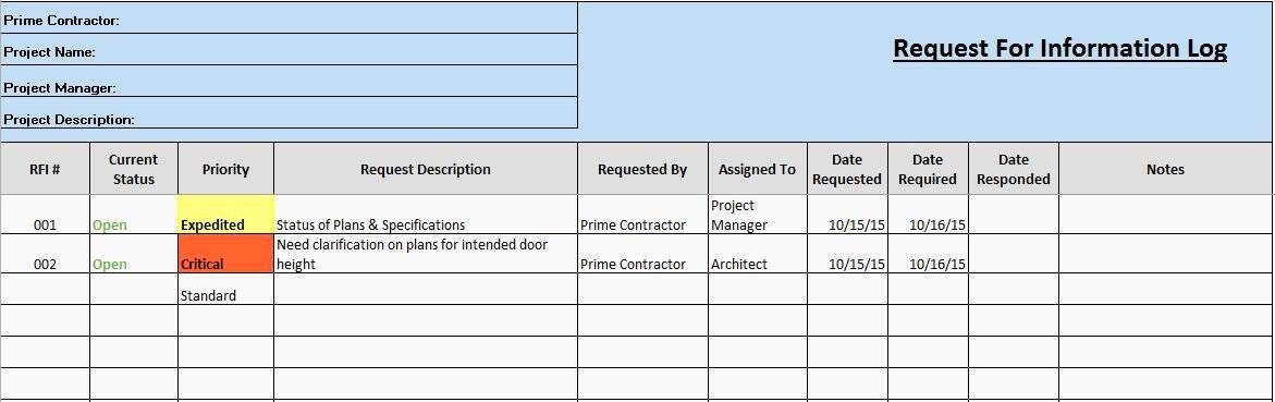 Request for Information Template Construction New Free Construction Project Management Templates In Excel