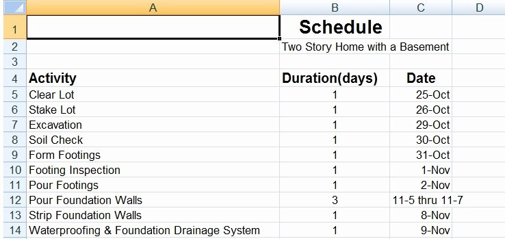 Residential Construction Schedule Template Inspirational Sample Residential Construction Schedule – Printable