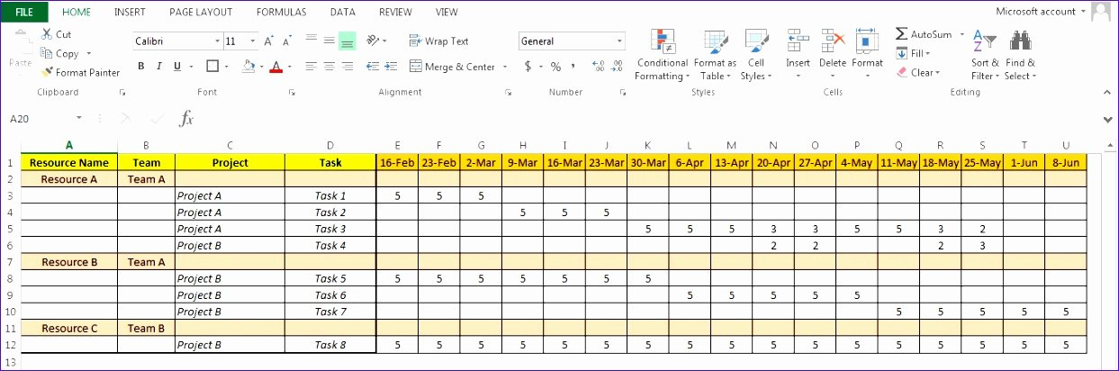 Resource Capacity Planning Excel Template Beautiful 5 Capacity Planning Excel Template Free Exceltemplates