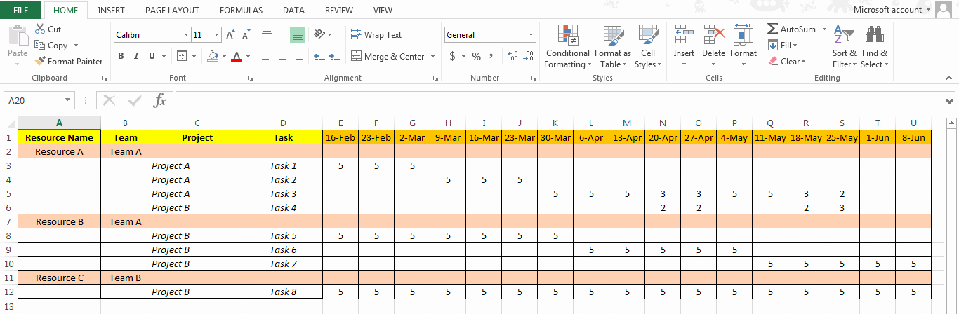 Resource Capacity Planning Excel Template Luxury Excel Based Resource Plan Template Free Free Project