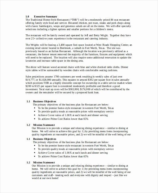 Restaurant Business Plan Template Word Unique Restaurant Business Plan 22 Pdf Word Google Docs