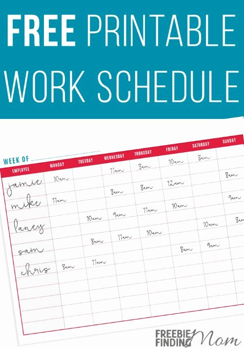 Restaurant Employee Schedule Template Awesome Free Printable Work Schedule