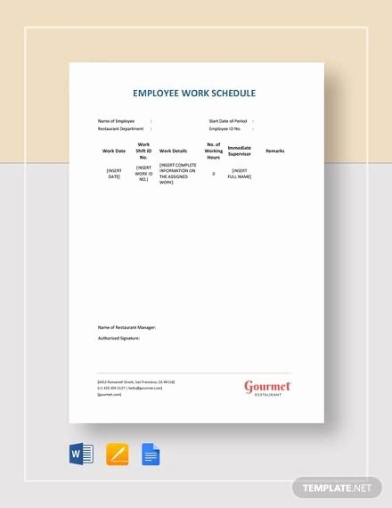 Restaurant Employee Schedule Template Awesome Free18 Employee Schedule Samples In Google Docs
