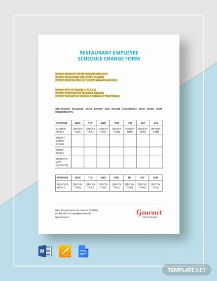 Restaurant Employee Schedule Template Beautiful Free Department Change Request Letter Template Download