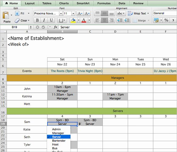 Restaurant Employee Schedule Template Lovely Schedule Template – 39 Free Word Excel Pdf format