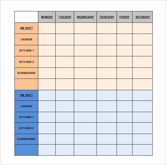 Restaurant Employee Schedule Template Luxury Restaurant Schedule Template 18 Free Excel Word