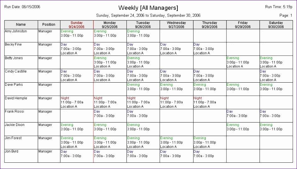 excel employee schedule template h4899