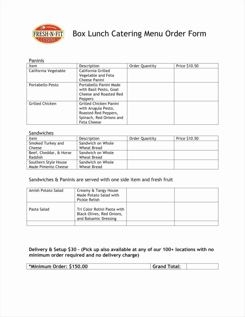 Restaurant Food order form Template Beautiful 10 Food order form Templates Word Docs