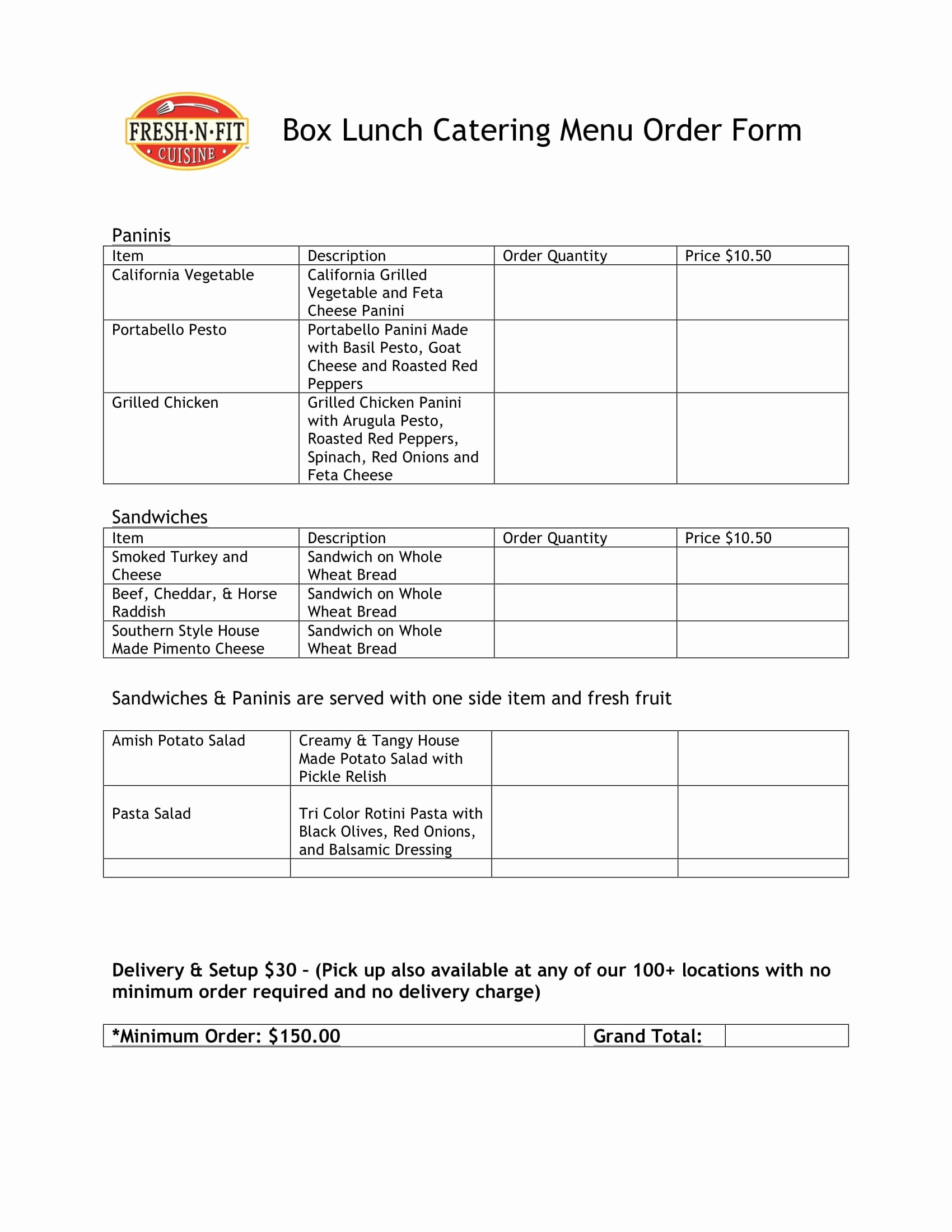 Restaurant Food order form Template Best Of Free 29 Menu forms In Pdf