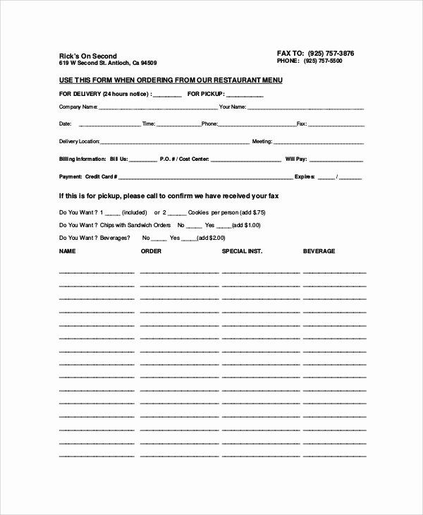 Restaurant Food order form Template Elegant Sample Food order form 9 Examples In Word Pdf