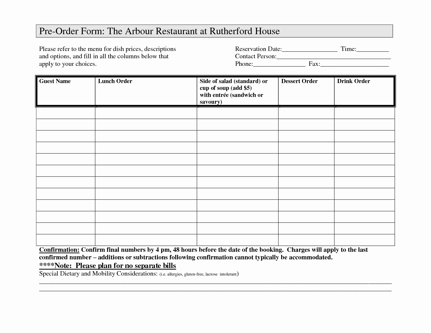 Restaurant Food order form Template Unique Restaurant order forms