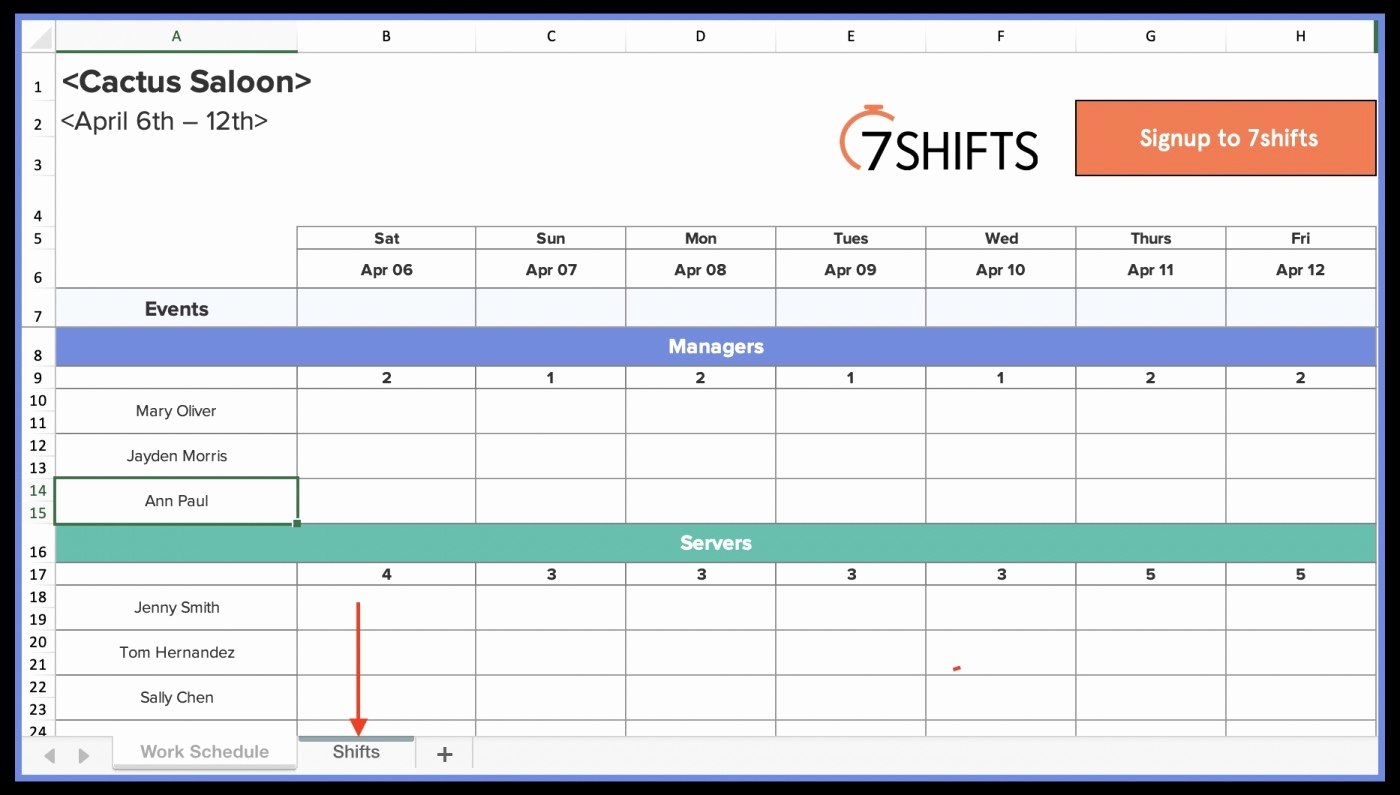 Restaurant Work Schedule Template Fresh 028 Simple Spreadsheet Template and Free Rotating Shift