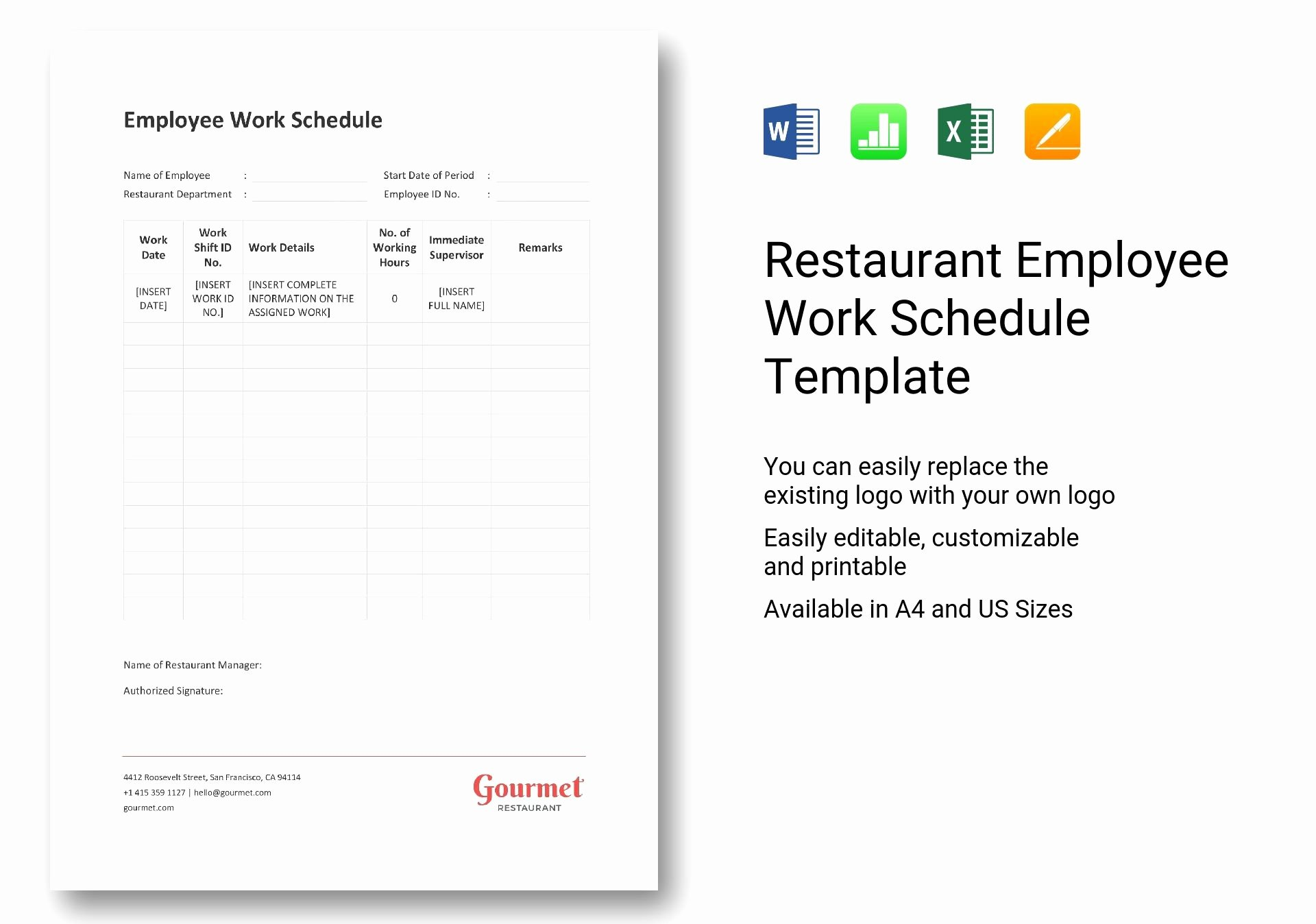 Restaurant Work Schedule Template Lovely Restaurant Employee Work Schedule Template In Word Excel