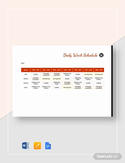 Restaurant Work Schedule Template Luxury Printable Daily Cleaning Schedule Template Download 195