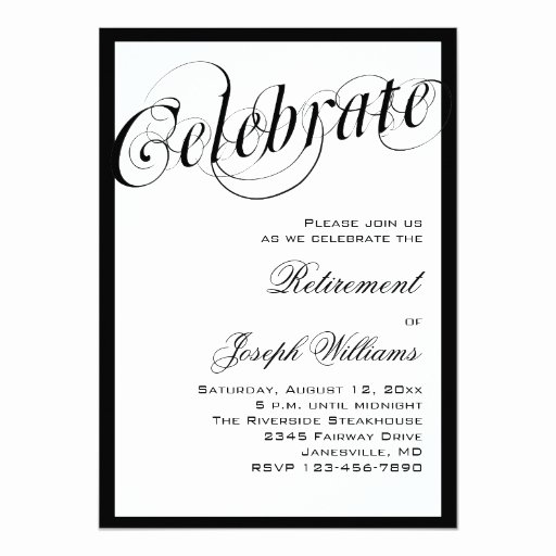 Retirement Dinner Invitation Template Best Of Elegant Black & White Retirement Party Invitations