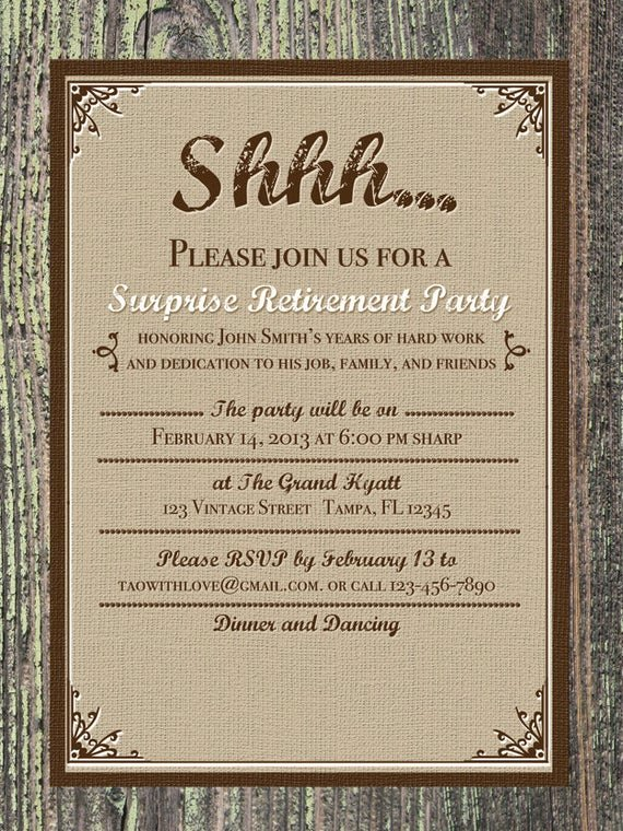 Retirement Dinner Invitation Template Best Of Printable Burlap Vintage Invitation Retirement Birthday or