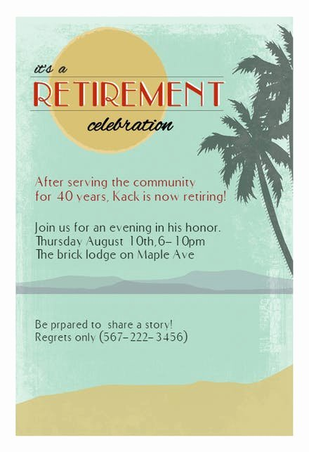 Retirement Dinner Invitation Template Fresh Retirement & Farewell Party Invitation Templates Free
