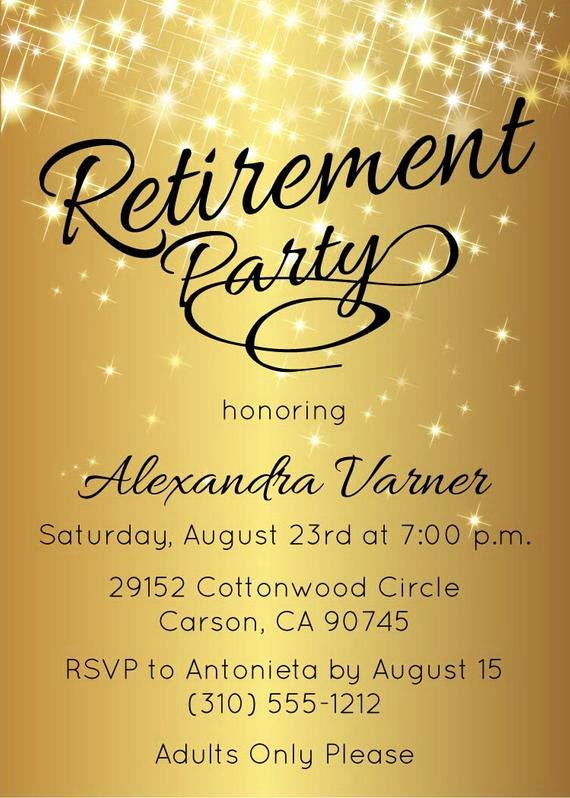 retirement party invitation gold sparkly