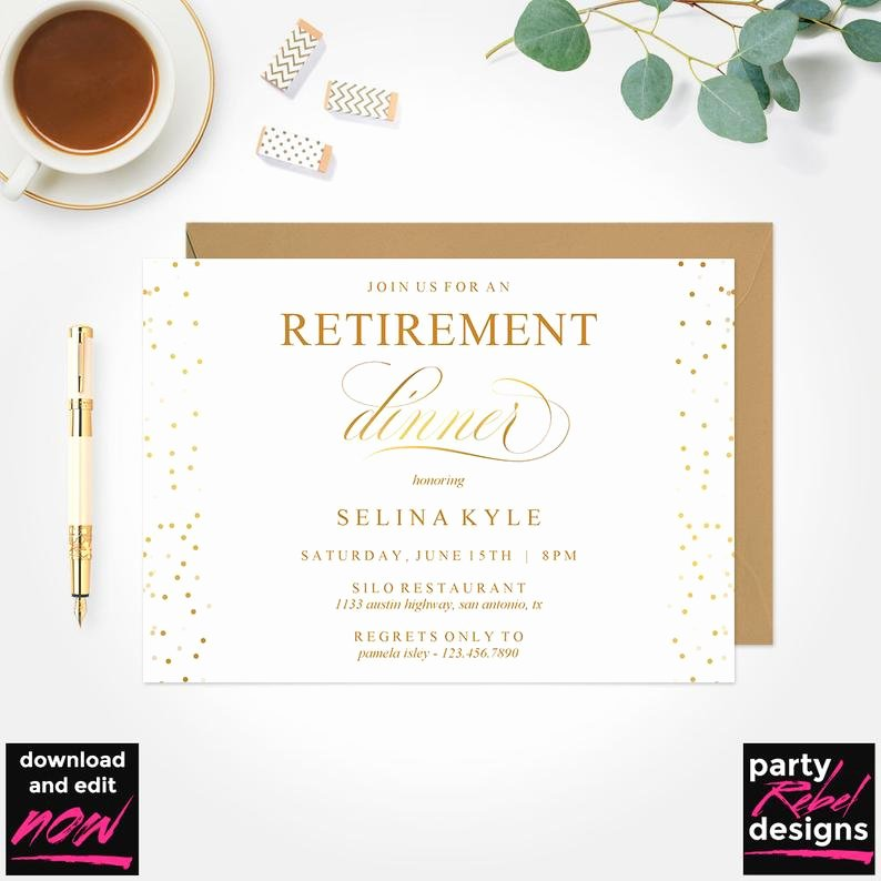 Retirement Dinner Invitation Template Inspirational Retirement Dinner Invitation Printable Template