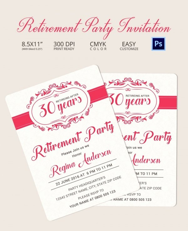 Retirement Dinner Invitation Template Lovely Retirement Party Invitation Template 36 Free Psd format