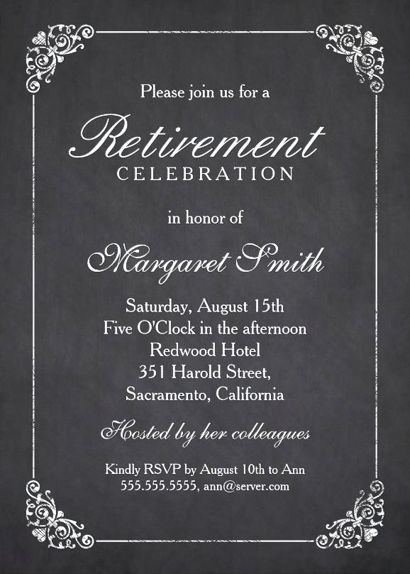 Retirement Dinner Invitation Template New Elegant Chalkboard Retirement Party Invitation Template