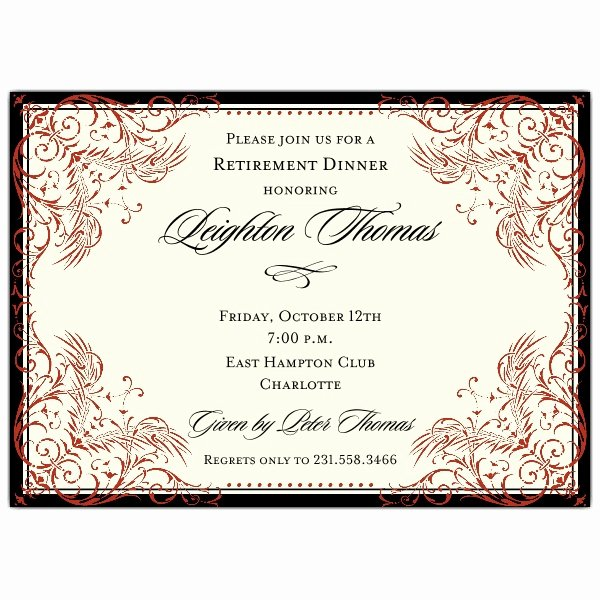 Retirement Dinner Invitation Template Unique Black and Red Elegant Border Retirement Invitations