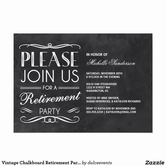 Retirement Dinner Invitation Template Unique Vintage Chalkboard Retirement Party 5x7 Paper Invitation