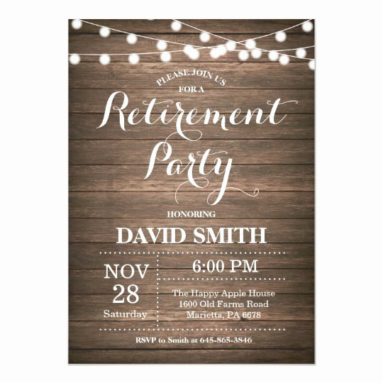 Retirement Luncheon Invitation Template Beautiful Rustic Retirement Party Invitation Card