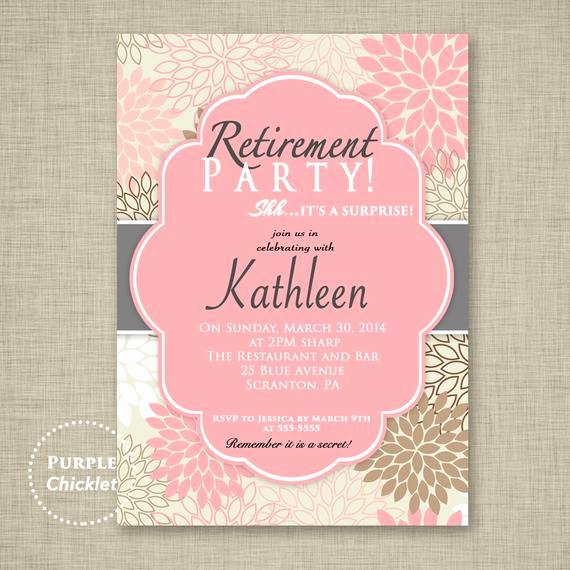 Retirement Luncheon Invitation Template Lovely Surprise Retirement Party Invitation Pink Adult Surprise Party
