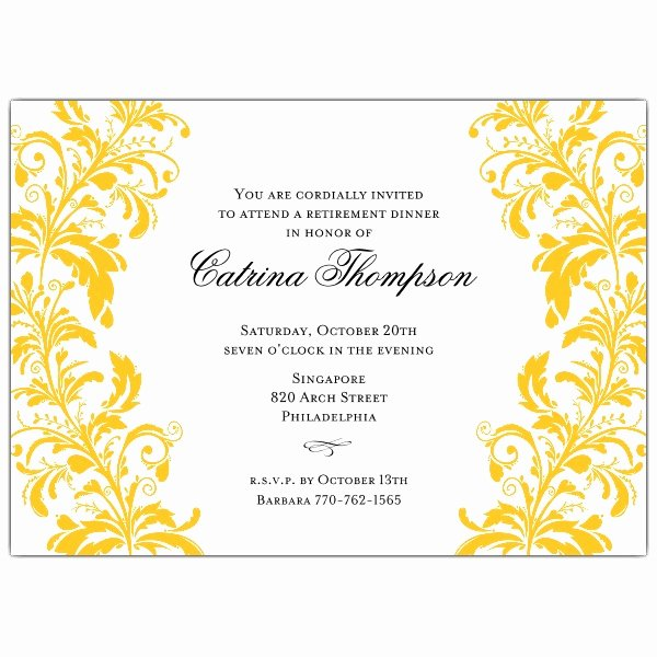 Retirement Luncheon Invitation Template New Branches Gold White Retirement Dinner Invitations
