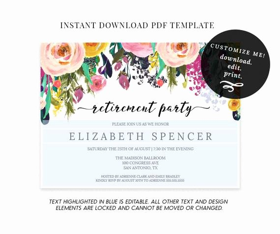 Retirement Luncheon Invitation Template New Editable Floral Retirement Party Invitation Template