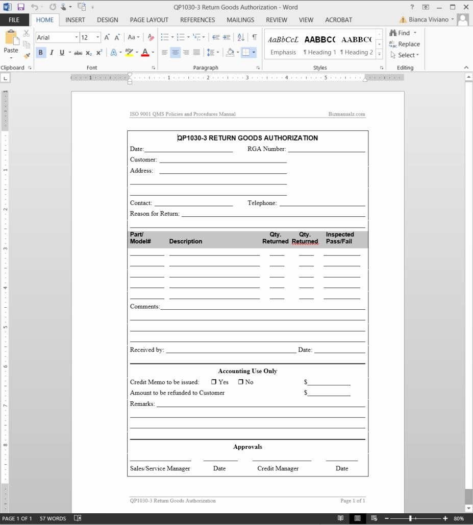 Return Authorization form Template Beautiful Return Goods Authorization iso Template