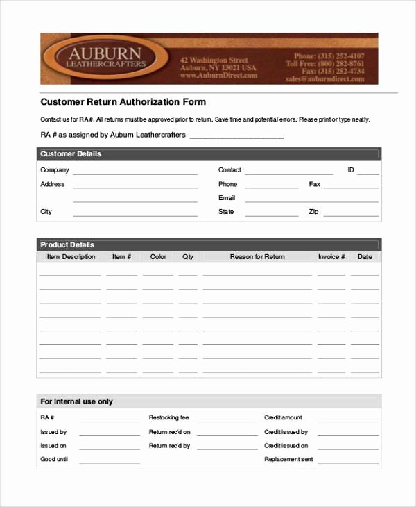Return Authorization form Template Best Of Free 39 Authorization form Templates