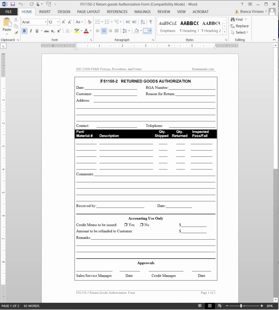 Return Authorization form Template Best Of Fsms Returned Good Authorization Template