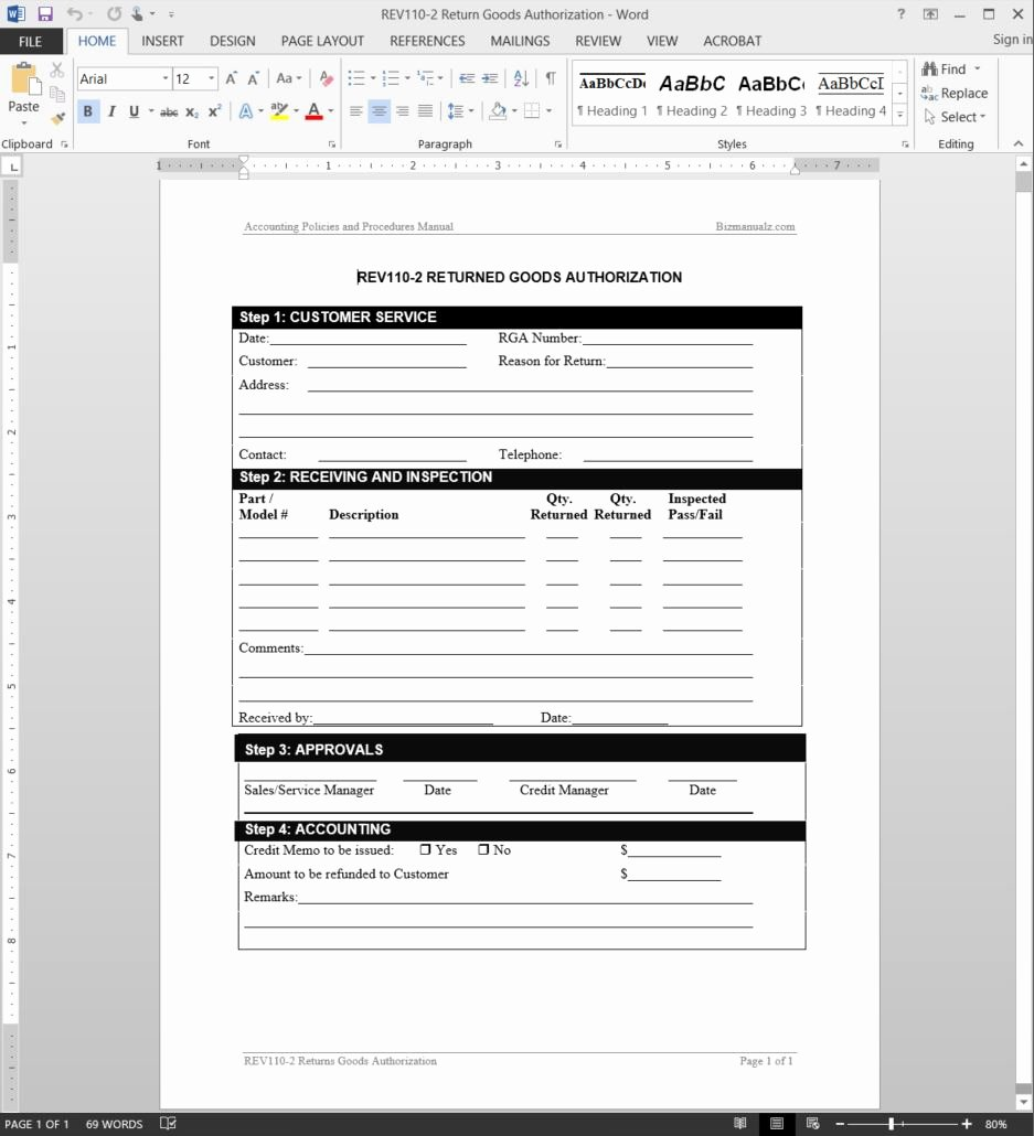 Return Authorization form Template Lovely 21 Of Process Approval form Template Word