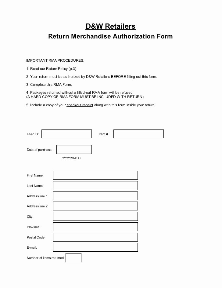 Return Authorization form Template Luxury Return Merchandise Authorization form