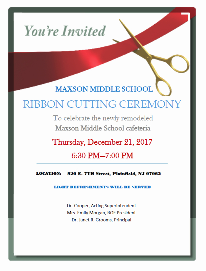 Ribbon Cutting Ceremony Invitation Template Awesome Ribbon Cutting Ceremony at Plainfield S Maxson Middle