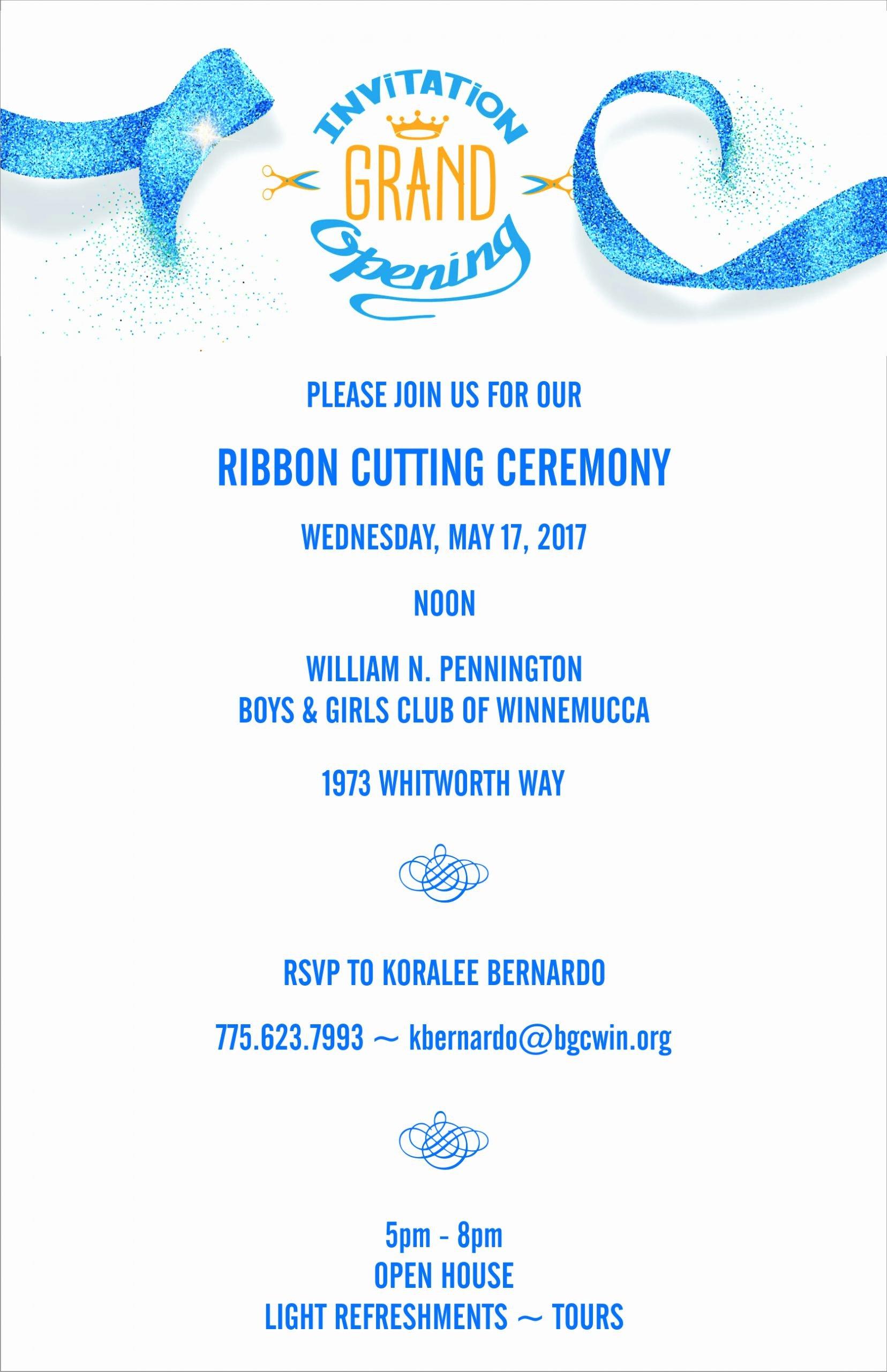 Ribbon Cutting Ceremony Invitation Template Awesome Ribbon Cutting Ceremony – Boys & Girls Club Winnemucca
