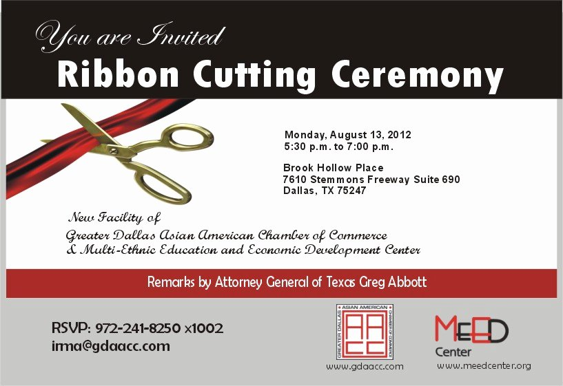Ribbon Cutting Ceremony Invitation Template Beautiful Ribbon Cutting Ceremony Tickets Mon Aug 13 2012 at 5 30