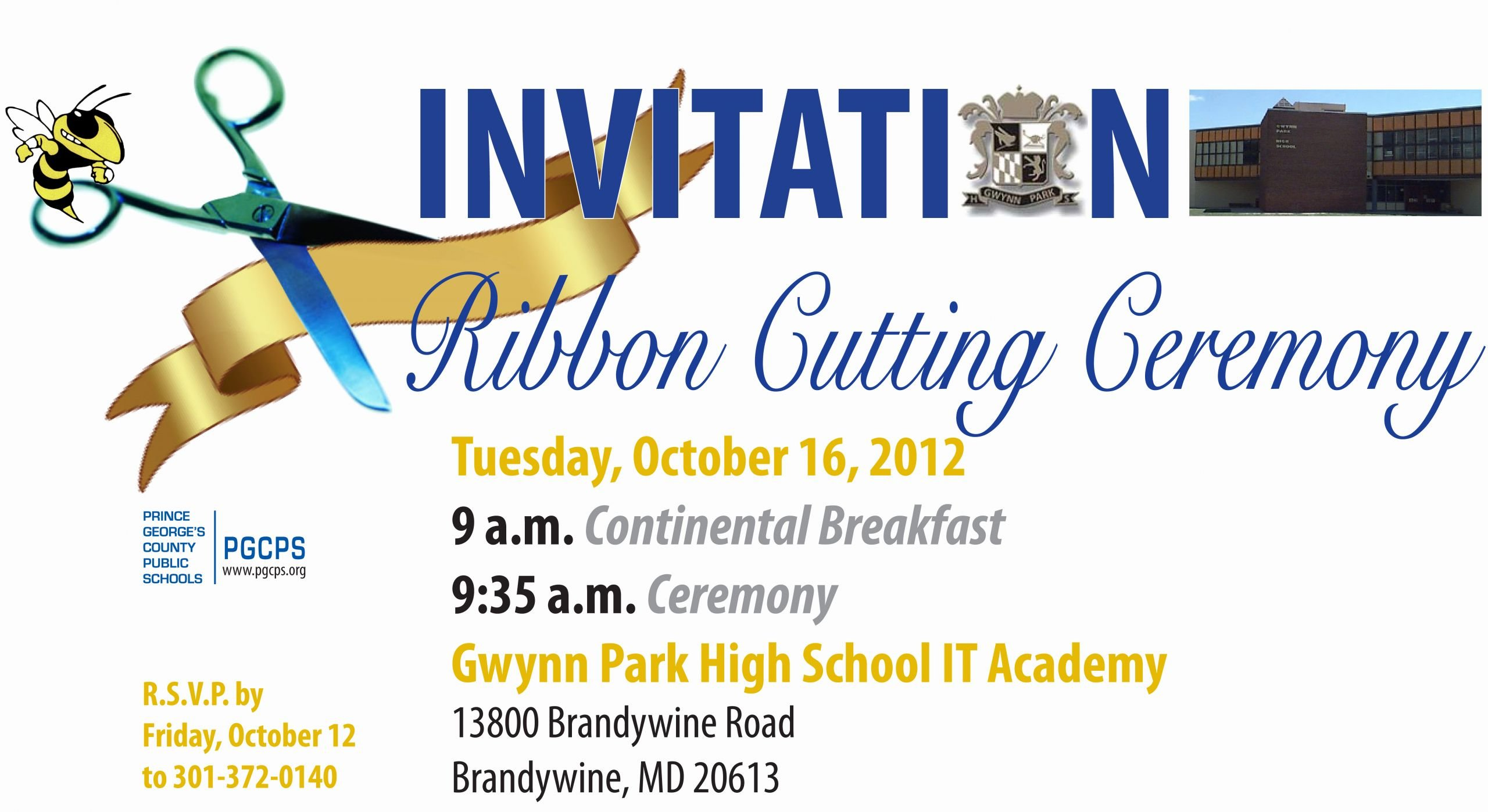 Ribbon Cutting Ceremony Invitation Template Lovely Gwynn Park Hs It Academy Ribbon Cutting Ceremony