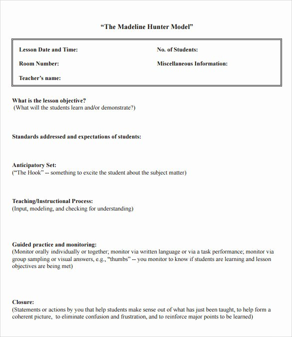 Robert Marzano Lesson Plan Template Beautiful Madeline Hunter Lesson Plan Example