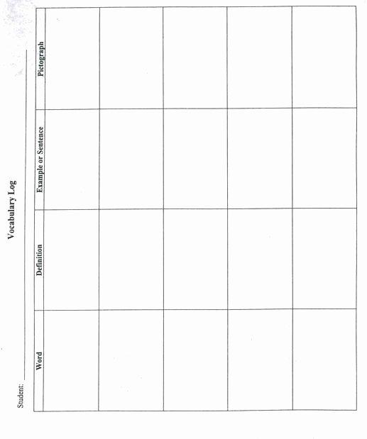 Robert Marzano Lesson Plan Template Elegant Vocabulary Log Academic Vocabulary