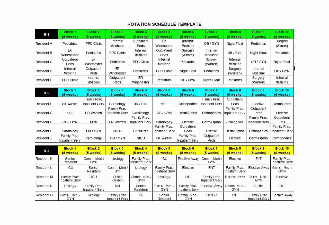 Rotating Overtime Schedule Template Awesome 50 Free Rotating Schedule Templates for Your Pany